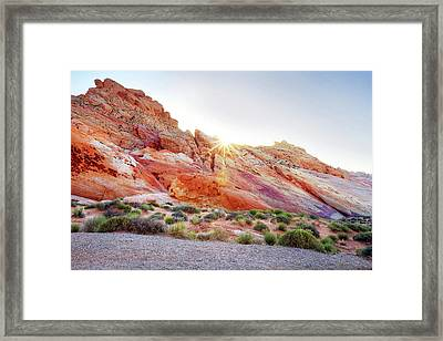 Rainbow Rocks At Valley Of Fire, Nevada, Usa Framed Print by Copyright Sarah Wright