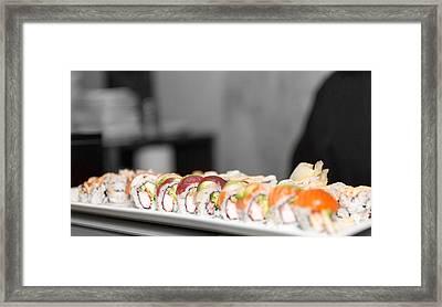 Rainbow Roll Sushi Monk Framed Print by Pat Burns