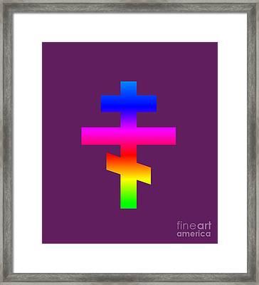Rainbow Russian Orthodox Symbol Framed Print by Frederick Holiday