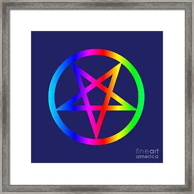 Rainbow Satanism Symbol Framed Print by Frederick Holiday