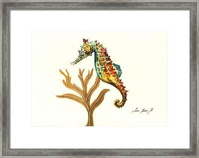 Rainbow Seahorse Framed Print by Juan Bosco