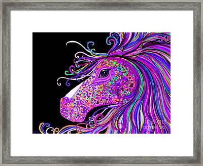 Rainbow Spotted Horse Head 2 Framed Print by Nick Gustafson