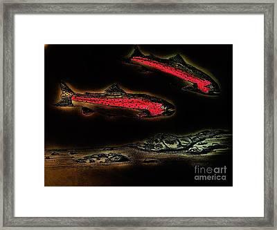 Rainbow Trout Scene - Neon Nights Framed Print by Scott D Van Osdol