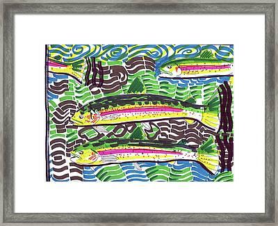 Rainbow Trout School Framed Print by Robert Wolverton Jr