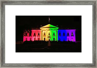 Rainbow White House Framed Print by Chris Montcalmo