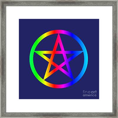 Rainbow Wiccan Symbol Framed Print by Frederick Holiday