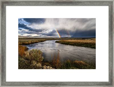 Rainbows At The Upper Owens Framed Print by Cat Connor