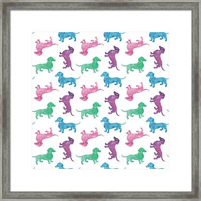 Raining Dachshunds Framed Print by Antique Images