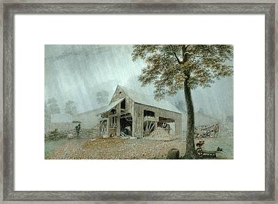 Rainstorm-cider Mill At Redding. Connecticut Framed Print by George Harvey