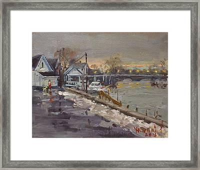 Rainy And Snowy Evening By Niagara River Framed Print by Ylli Haruni
