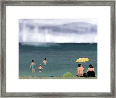 Rainy Beach Framed Print by Arline Wagner
