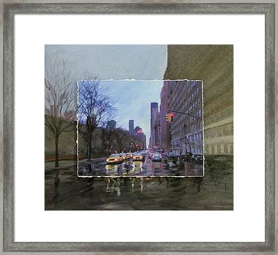 Rainy City Street Layered Framed Print by Anita Burgermeister