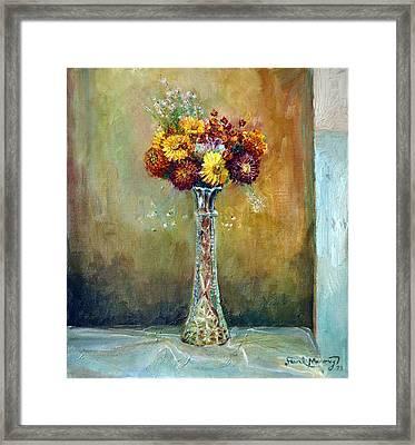 Rainy Day Flowers Framed Print by Frank Maroney