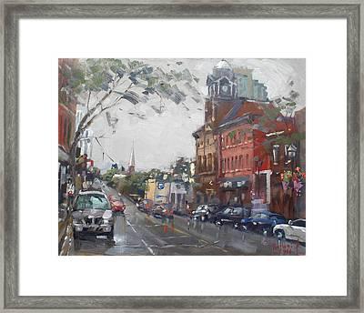 Rainy Day In Downtown Brampton On Framed Print by Ylli Haruni