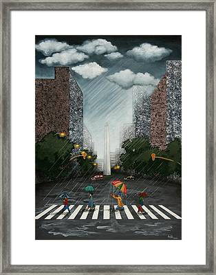 Rainy Day In Downtown Framed Print by Graciela Bello