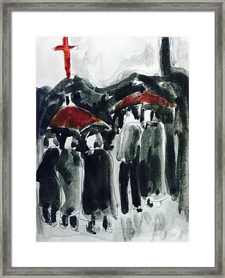 Rainy Day On Street Framed Print by Hae Kim