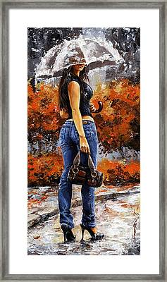 Rainy Day - Woman Of New York 14 Framed Print by Emerico Imre Toth