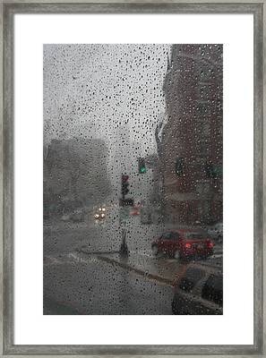 Rainy Days In Boston Framed Print by Julie Lueders