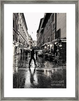 rainy night in Rome Framed Print by HD Connelly