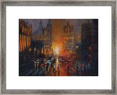 Rainy Night Framed Print by Tom Shropshire