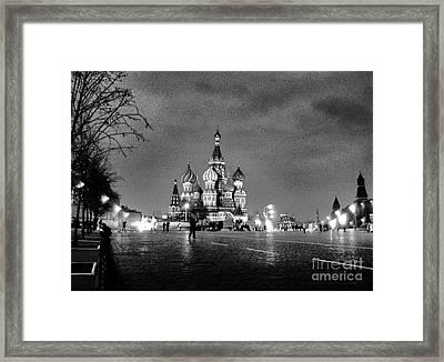 Rainy Red Square At Dusk Framed Print by Steve Rudolph
