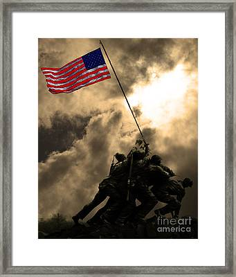 Raising The Flag At Iwo Jima 20130211 Framed Print by Wingsdomain Art and Photography