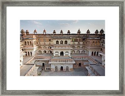 Raj Mahal Palace In Orchha Fort Framed Print by Aivar Mikko