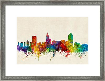 Raleigh North Carolina Skyline Framed Print by Michael Tompsett