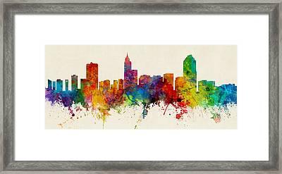 Raleigh North Carolina Skyline Panoramic Framed Print by Michael Tompsett