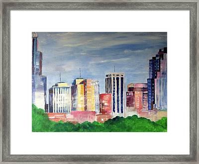 Raleigh Skyline2 Framed Print by Kimberly Balentine