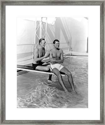 Randolph Scott And Cary Grant Poolside Framed Print by Everett