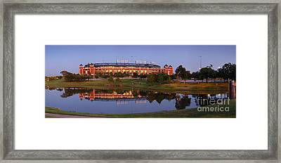 Rangers Ballpark In Arlington At Dusk Framed Print by Jon Holiday