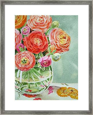 Ranunculus In The Glass Vase Framed Print by Irina Sztukowski