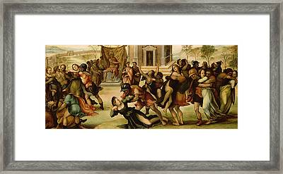 Rape Of The Sabines Framed Print by Girolamo del Pacchia