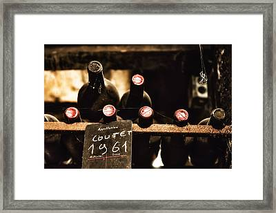 Rare Vintage Wine In The Cellar Framed Print by Georgia Fowler