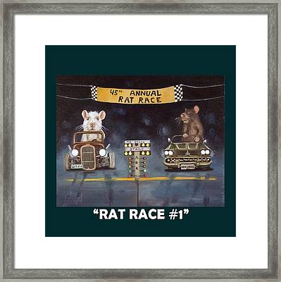 Rat Race With Lettering Framed Print by Leah Saulnier The Painting Maniac