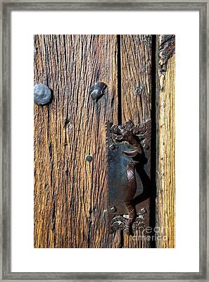 Rattlesnake Door Handle Mission San Xavier Del Bac Framed Print by Thomas R Fletcher