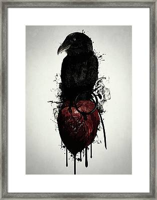 Raven And Heart Grenade Framed Print by Nicklas Gustafsson