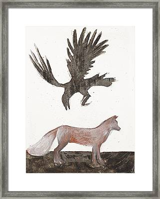 Raven And Old Fox Framed Print by Sophy White
