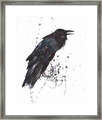 Raven  Black Bird Gothic Art Framed Print by Alison Fennell