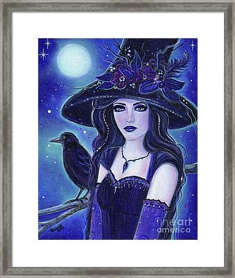 Raven Halloween Witch Framed Print by Renee Lavoie