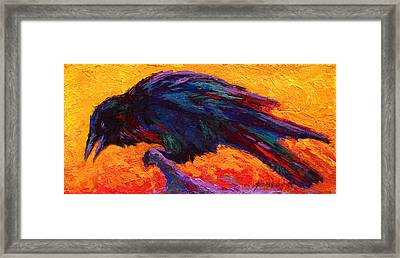 Raven Framed Print by Marion Rose