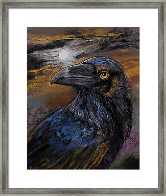Raven Moon Framed Print by Michael Creese