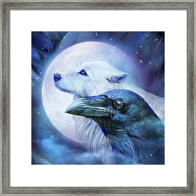 Raven Wolf Moon Framed Print by Carol Cavalaris
