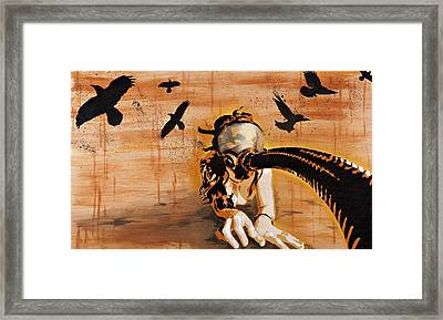 Ravens Remain The Harbinger Of Secrets Framed Print by Tai Taeoalii