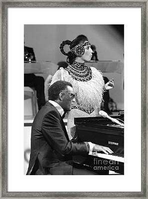 Ray Charles And Cher Framed Print by Terry O'Neill