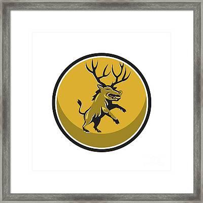 Razorback Antlers Prancing Circle Retro Framed Print by Aloysius Patrimonio