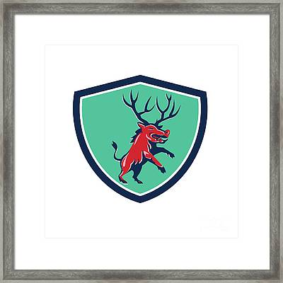 Razorback Antlers Prancing Crest Retro Framed Print by Aloysius Patrimonio