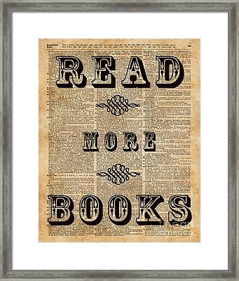 Read More Book Illustration Dictionary Art Library Home Decor Framed Print by Jacob Kuch