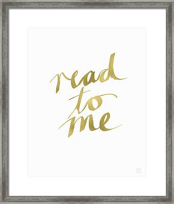 Read To Me Gold- Art By Linda Woods Framed Print by Linda Woods